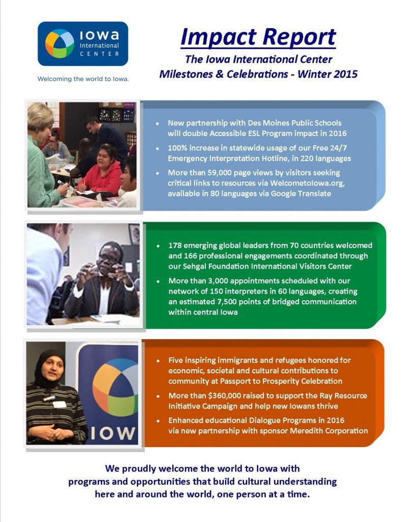 IIC Accomplishments Summary 2015 into 2016